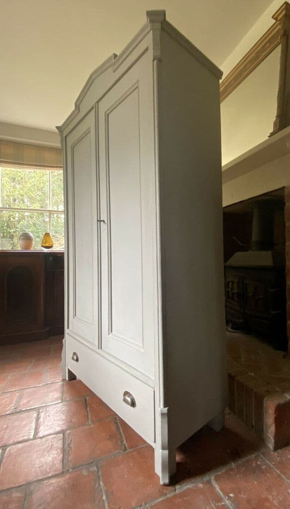 Antique Grey Painted French Gustavian Style Solid Pine Cupboard Wardrobe Armoire